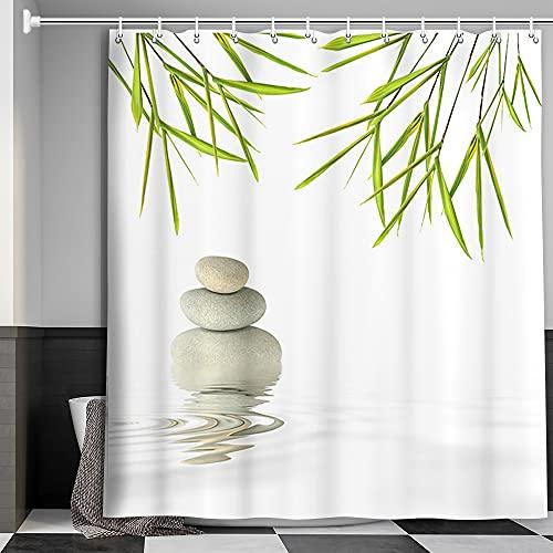 MERCHR Cortina de ducha Spa Zen con diseño de hojas verdes y piedra zen, diseño de bambú y meditación, cortina de baño neutro...
