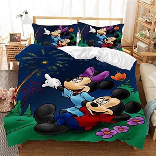XZHYMJ Juego de sábanas 3D Disney Mickey y Minnie - 3 Piezas Mickey y Minnie Mouse Anime Impreso Niño Adulto Niños Funda nórdica Juego de Regalo para Adolescentes Niñas A02_Solo 135x200cm