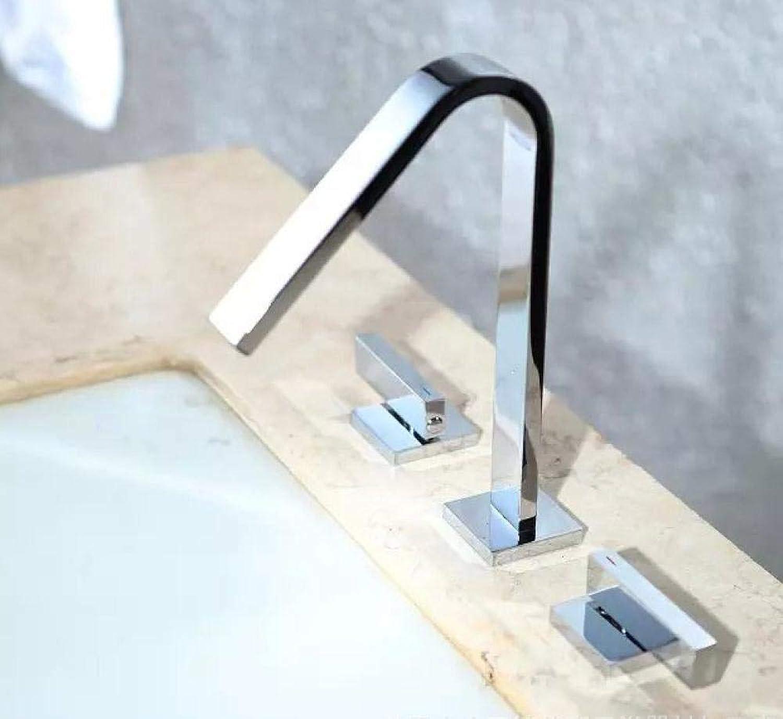 Deck montiert 3-Loch-Waschtischmischer Chrom Waschbecken Wasserhahn weien Kran Bad Wasserhahn Mischbatterie Wasserhahn für Badezimmer