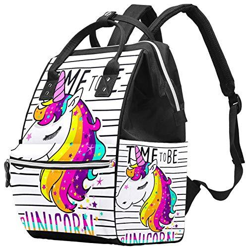 Sac à langer Momie Sac à dos Time to be a Unicorn Stripe Multifonction Imperméable à l'eau Sac à dos de voyage pour soins de bébé