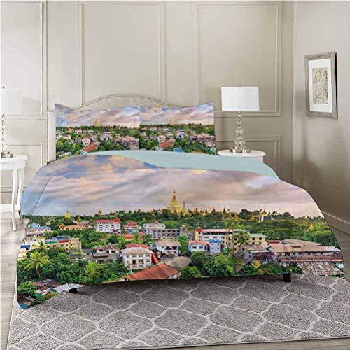 Juego de funda de edredón, paisaje, paisaje, paisaje de pueblo, tamaño queen, 1 funda de edredón con 2 fundas de almohada, hipoalergénico, fácil cuidado, suave y duradero
