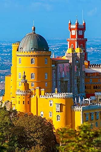 FJKEFJH Kits de Point de Croix, Portugal Castle Foam Sintra Lisbonne DIY 14CT pré-imprimés les débutants kits de démarrage de broderie Kit de broderie Artisanat 40X50cm