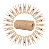 ewtshop® 100 minipinzas de madera + 100 metros de cuerda de yute, pinzas de la ropa, mini pinzas de madera, pinzas decorativas, tamaño: 2,5 cm aprox.