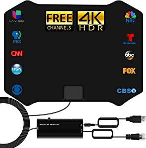 TV Antenna - Amplified HD Digital Indoor TV Antenna 250 Miles Long Range - Compatible 4K 1080p Fire tv Stick and All Older TVs with Amplifier Signal Booster for Free Channels