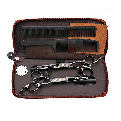 Tijeras de peluquería profesional de 5.5 pulgadas, tijeras de corte y entresacado de acero japonés, diseño de sakura, color negro