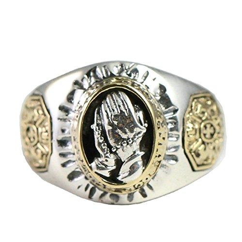 Beglie Herren Siegelring aus 925er Silber Betende Hand Bicolor Runden 1.5CM Silber Biker Ring Bandring Schmuck für Männer 58 (18.4)