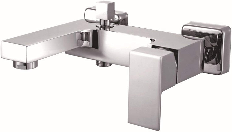 LGSYSYP Bathroom accessories European modern fashion copper chrome family hotel bathroom square bathtub faucet basin faucet hot and cold surface inssizetion sprinkler faucet bath towel towel rac