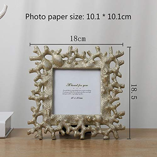XINHANGXIAN INS Mediterranean Style Photo Frame Creative Coral Shell Conch Resin Picture Certificate Frame Desktop Decoration 6/7/8 Inch fashion (color : G 4inch)