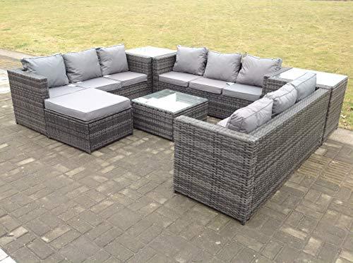 10 Seater U Shape Rattan Sofa Set Patio Outdoor Garden Furniture With Footstool