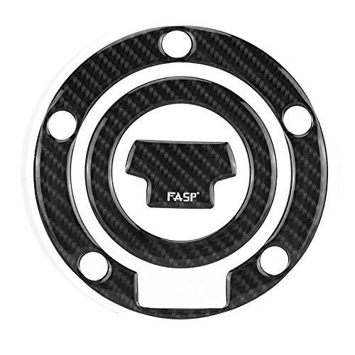 Qiilu Kohlefaser Motorrad Tankdeckel Pad Abdeckung für YZF-R1 R6 Motorrad Tank Aufkleber Kohlefaser Abdeckung Gel (Schwarz)