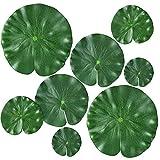 CHULAI 8 unidades de 4 tamaños de plantas flotantes artificiales flotantes, hojas de loto, almohadillas realistas para el hogar, jardín, estanques, piscina, acuario, pecera, decoración paisajística