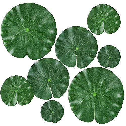 Chulai Lot de 8 tampons de nénuphars artificiels 4 tailles pour plantes flottantes et feuilles de lotus réalistes pour la maison, le jardin, les bassins, la piscine, l'aquarium, le paysage