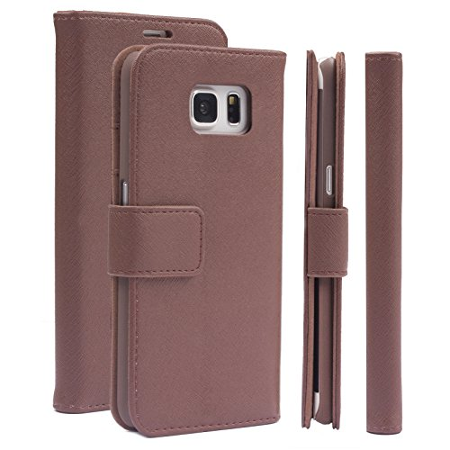 iCues Schutzhülle kompatibel mit Samsung Galaxy S6 Edge + Plus (5.7 Zoll) Maraba Hippo Braun Leder