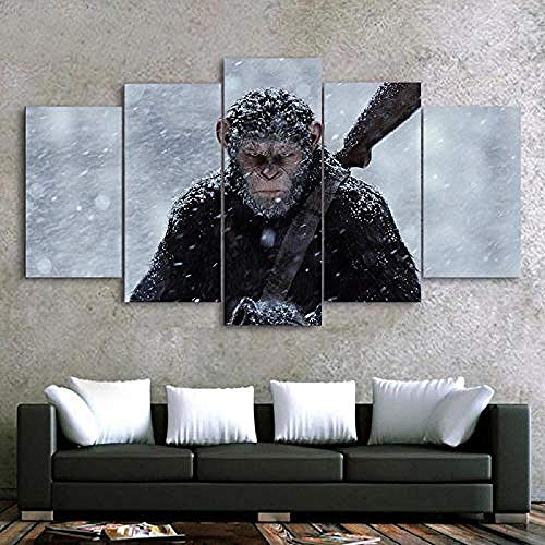 Myrdsio Multi Panel Wall Art 5 Piece Print On Canvas Pictures War For The Planet Of The Apes Movie Art Print Images Modern Home Decoration 150×80Cm Wallpaper (Completely Framed)