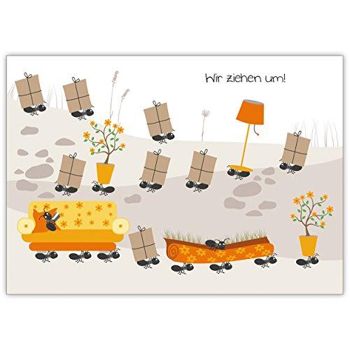 Grappige verhuiskaart/weergave met luide kleine vlijtige mieren: wij trekken om! • ook direct verzonden met de tekst inlegger • individuele wenskaart met envelop, hoogwaardige kwaliteit