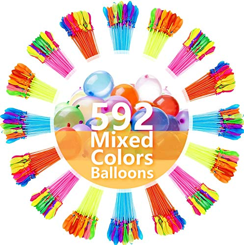 FEECHAGIER Water Balloons for Kids Girls Boys Balloons Set Party Games Quick Fill 592 Balloons 16 Bunches for Swimming Pool Outdoor Summer Fun V17