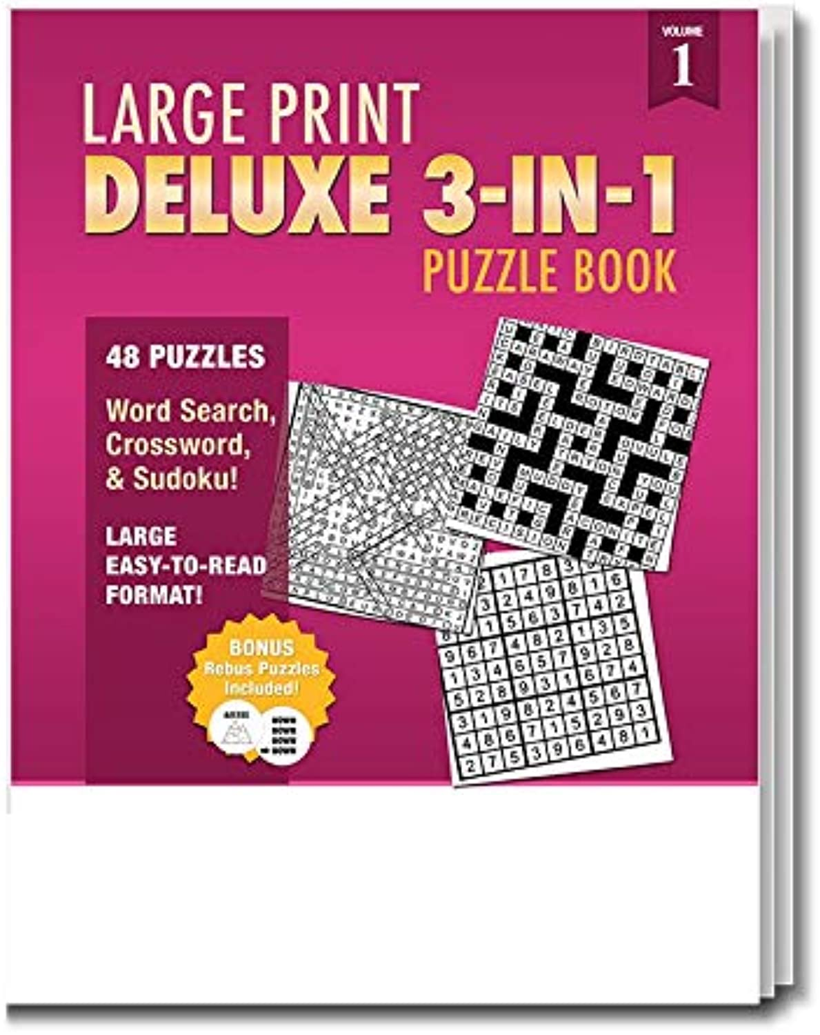 Safety Magnets 25 Pack - Large Print Deluxe 3-in-1 Puzzle Books for Seniors in Bulk - Word Search, Crossword & Sudoku