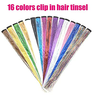 46 Inch 12 Colors Hair Tinsel With Tools Kit, Fairy Hair Tinsel Strands Kit?Hair Extension Tools Kit