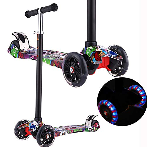 Scooter for Kids with Light Up 3-Wheels for Toddlers,Adjustable Height Lean to Steer with Extra-Wide Deck PU LED Flashing Wheels Kick Scooter for Boys Girls from 3-12 Years Old,Capacity 110lb