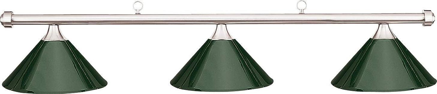 Hj Scott Chrome 3-Shade Bar/Green Metal Shade Billiard Pool Table Light