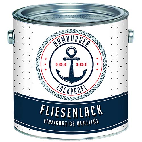 Fliesenlack GLÄNZEND Weiß RAL 9010 Fliesenfarbe im SET // Hamburger Lack-Profi (2,5 L)