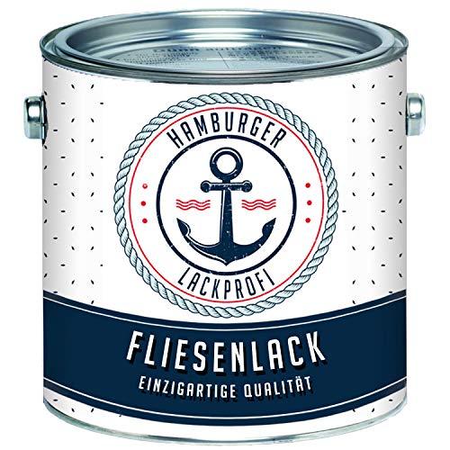 Fliesenlack GLÄNZEND Cremeweiß RAL 9001 Fliesenfarbe im SET // Hamburger Lack-Profi (1 L)