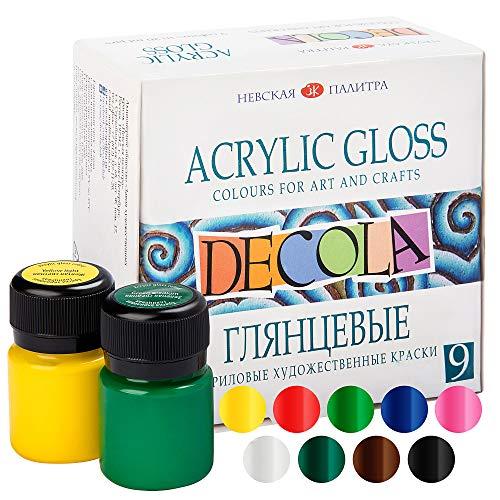 Decola Nevskaya Palitra Acrylfarben Set Glänzend   9 x 20 ml Malfarben   Acryl Farben zum Malen und Dekorieren   Qualität
