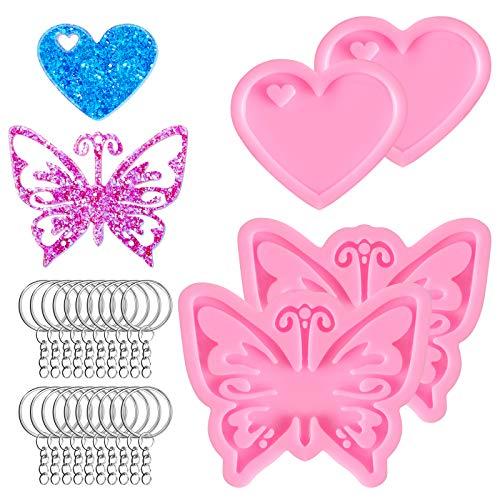 Kalolary 4 Pcs 3D Silikonformen - Schlüsselbundform DIY Kristall Schmetterling Herz Fondant Kuchen Backform mit 20 Stück Schlüsselringe