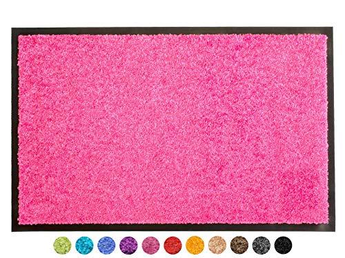 Primaflor - Ideen in Textil Schmutzfangmatte CLEAN – Pink 60x90 cm, Waschbare, rutschfeste, Pflegeleichte Fußmatte, Eingangsmatte,...
