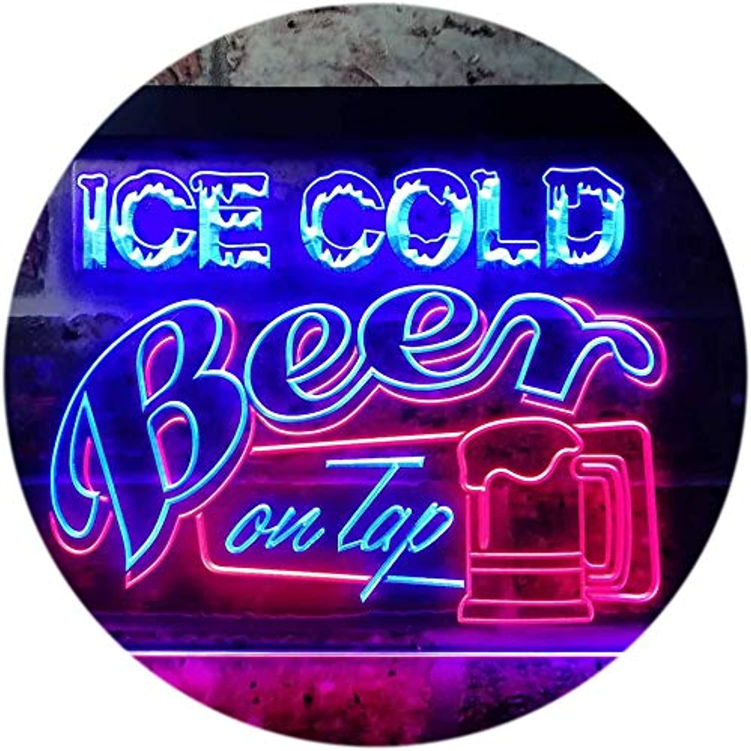 ADVPRO Ice Cold Beer On Tap Bar Club Dual Farbe LED Barlicht Neonlicht Lichtwerbung Neon Sign rot & Blau 400mm x 300mm st6s43-i0912-rb