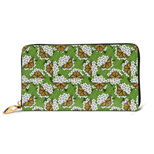 Monarch Butterflies Wallets for Men Women Long Leather Checkbook Card Holder Purse Zipper Buckle Elegant Clutch Ladies Coin Purse