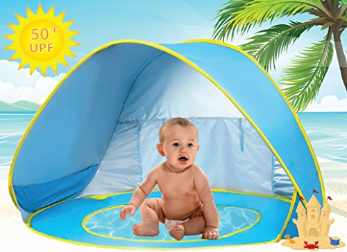 Baby Beach Pool Tent Kiddie Pool UV Protection Sun Shelter Pop Up Toy for Kids - Blue Yellow