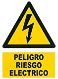 Wurko - Cartel Adhesivo'Peligro Riesgo Eléctrico' 7,5 x 5,5 cm