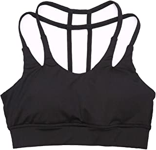 Sports Bra Women-Mei Back Sports Yoga Running Bra Slim Band Non-Wired Shockproof Sports Vest (Color : Black, Size : S)