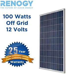 Renogy  100 Watt 100w Polycrystalline Photovoltaic Solar Panel Module 12V Battery Charging for Boat Caravan