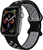 VIKATech Compatible Cinturino per Apple Watch Cinturino 44mm 42mm, Due Colori Morbido Silicone Traspirante Cinturini Sportiva di Ricambio per iWatch Series 6/5/4/3/2/1, M/L, Nero/Coolgray
