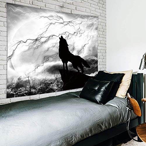 Riyidecor Wolf Silhouette Tapestry 59Wx51H Inches Black White Wild Animal Moon Light Mystic Dark Cloud Scary Scene Art Hanging Bedroom Living Room Dorm Wall Blankets Home Decor Fabric