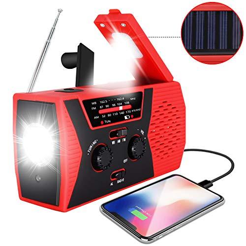2020 Upgraded Emergency Solar Hand Crank Radio, RegeMoudal Hand Crank AM/FM/NOAA Weather Radio with Flashlight, Reading Lamp, 2000mAh Power Bank,USB Cell Phone Charger and SOS Alarm