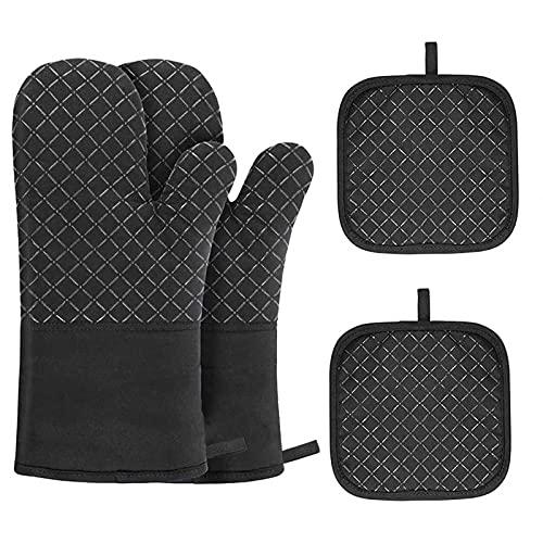 Guantes para horno resistentes al calor 300 °C, juego de 4 guantes para horno holders y guantes para hornear (juego negro)