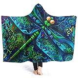 Henry Anthony Dragonfly Hoodie Blanket Coral Plush Ultraweiche Plüsch-Freizeitkleidung mit Kapuze Throw Wrap