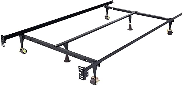 HAPPYGRILL Metal Bed Frame With Center Support Rug Rollers And Locking Wheels Adjustable Queen Full Twin Size Platform Black