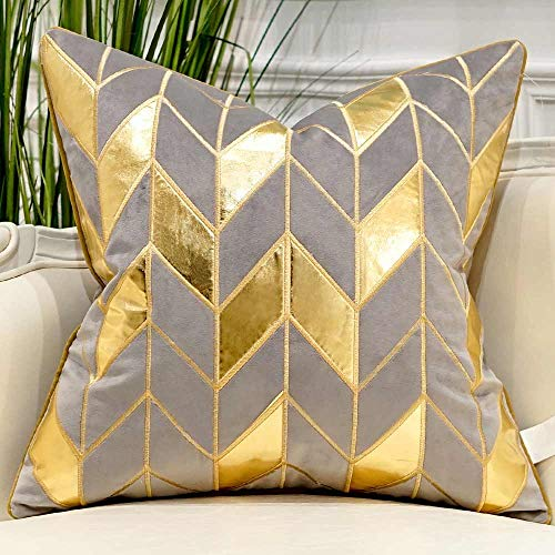 Avigers 20 x 20 Inches Grey Gold Striped Cushion Case Luxury European Throw Pillow Cover Decorative Pillow for Couch Living Room Bedroom Car