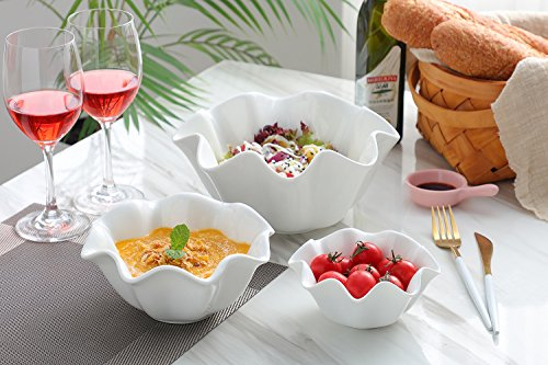 3 Piece Porcelain Serving Bowls Set - Salad Bowls/Cereal Bowls/Dessert Bowls/Ice...