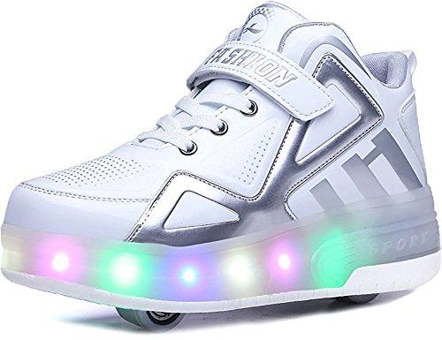 FG21ds21g Kids Wheelies LED Light Up Shoes Lightweight Fashion Sneakers Double Wheels Roller Skate Shoes(White 30 M EU/12.5 M US Little Kid)