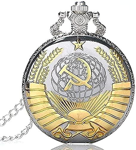 TTDAltd Collar Collar Retro URSS Collar Estilo Insignia soviética Reloj de Bolsillo de Cuarzo Emblema Ruso Comunismo Collar Cadena Unisex Horas Reloj Colgante Collar