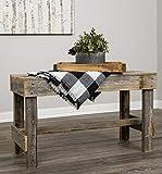 Del Hutson Designs Natural Reclaimed Barnwood Rustic Farmhouse Bench, USA Handmade Country Living Decor (Natural)
