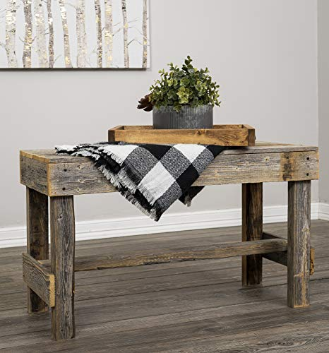 Natural Reclaimed Barnwood Rustic Farmhouse Bench, USA Handmade Country Living Decor by Del Hutson Designs (Natural Barnwood)