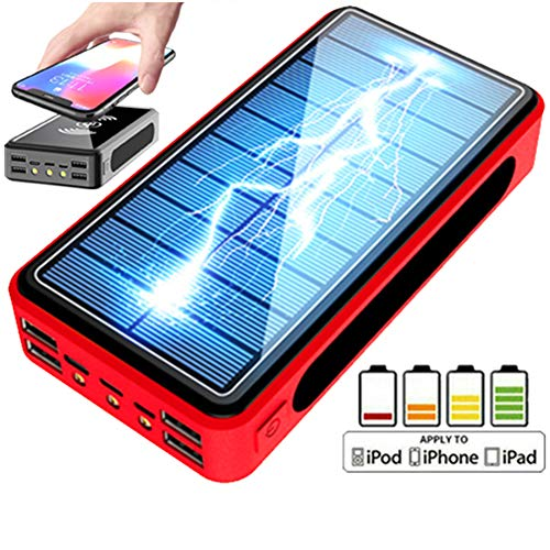 Kisshg 30000mAh Solar Power Bank Pack de Batterie Solaire sans Fil LED Light Powerbank Portable 4USB Chargeur de téléphone Portable pour Xiaomi IPhone,A