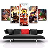 GANFANREN Decorative Pictures Painting Spray Canvas 5 Pieces Lego Movie Canvas Wall Picture Furniture Art Deco-200 * 100cm-Framed