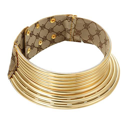 Yowablo Halskette African National Flamboyant verstellbare Persönlichkeit Creative Style Large Collar (2Gold)